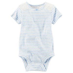 Baby Girl Striped Lace Bodysuit | Carters.com