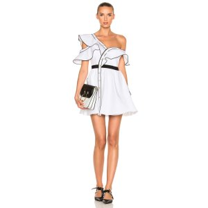 self-portrait Cotton Poplin Frill Dress