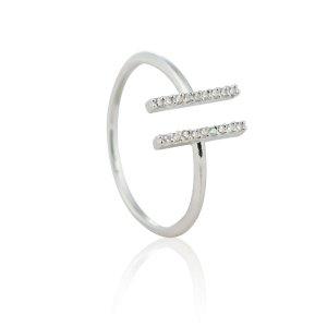Silver Double Bar Midi Ring
