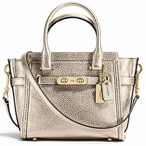 COACH Swagger Satchel 21 in Metallic Pebble Leather | Bloomingdale's