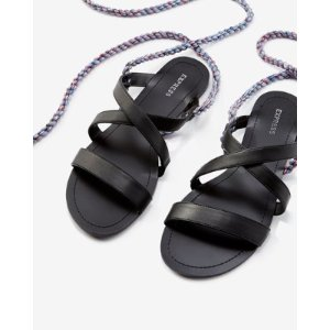 Braided Tassel Lace-up Sandal   Express
