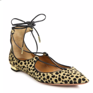 Aquazzura - Christy Spotted Calf Hair Lace-Up Flats - saks.com