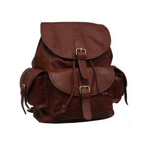 Amerileather Brown Buckle Leather Backpack | zulily