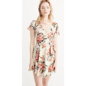 Womens Printed Wrap Dress连衣裙