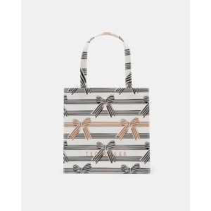 Bow stripe small shopper bag