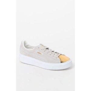 Puma Women's White Suede Platform Gold Sneakers at PacSun.com
