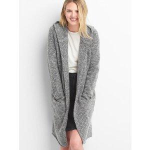 Wool hoodie cardigan