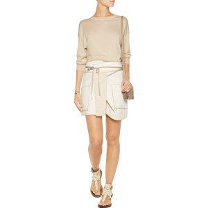 Liam asymmetric wrap-effect cotton mini skirt