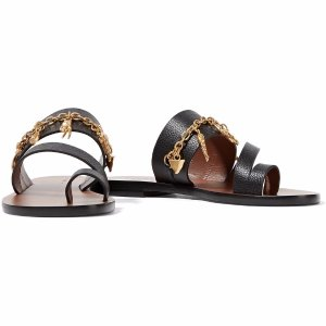 Chain-embellished textured-leather sandals | Sandro | US | THE OUTNET