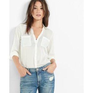 Slim Fit Sheer Stripe Portofino Shirt   Express