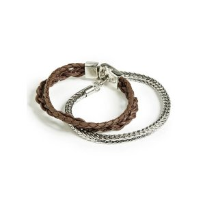 Faux-Leather and Chain Bracelet Set | GuessFactory.com