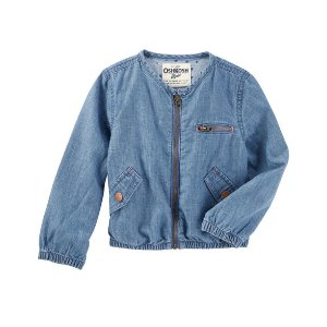 Toddler Girl Lightweight Denim Bomber Jacket | OshKosh.com