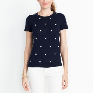 Polka dot short-sleeve sweater