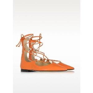 Pinko Mercurio Orange Leather Pointed Ballet Flats 36 (6 US   3 UK   36 EU) at FORZIERI