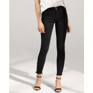 Black Mid Rise Zip Ankle Stretch Cropped Jean Leggings | Express