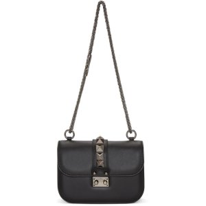 Black Valentino Garavani Small 'Rockstud Noir' Lock Bag