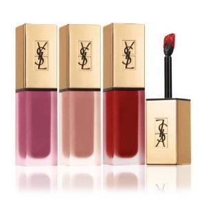 $80免邮(价值$108)+16件礼YSL 哑光唇露正装3支裸色+粉色+红色套装 超级划算必抢