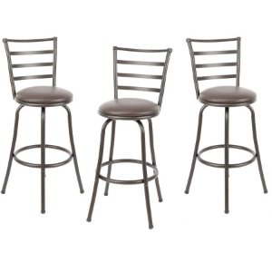 Mainstays Adjustable-Height Swivel Barstool, Hammered Bronze Finish, Set of 3, Multiple Colors - Walmart.com