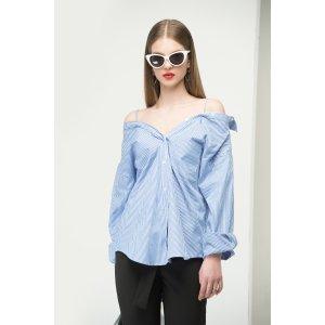 Strappy Cold Shoulder Stripe Shirt TP1793
