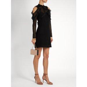 Purl knit lace cut-out shoulder dress | Self-portrait