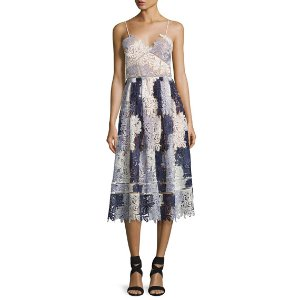 Self-Portrait Camellias Sleeveless Guipure Lace Midi Dress, Lavender Multicolor