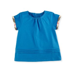 Burberry Gisselle Pintucked Jersey Tee, Blue, Size 6M-3