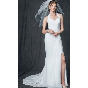 Chiffon Gown with High Slit and Halter Tie Back