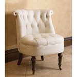 Abbyson Monica Pedersen Ivory Leather Barrel Chair