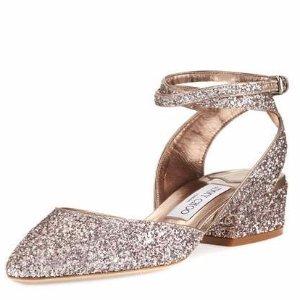Jimmy Choo Vicky Glitter Ankle-Wrap Ballerina Flat, Tea Rose