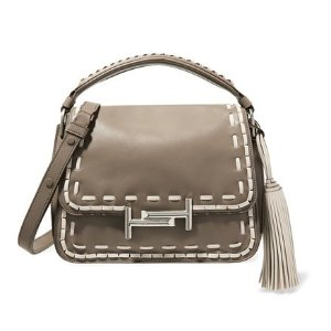 TOD'S Double T whipstitched leather shoulder bag