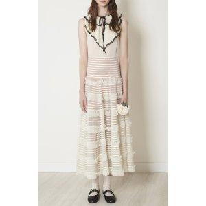 Silk Muslin Dress With Lace Trim Ruffle Jabot, Embroidered Ruffle Ribbon Detail | Moda Operandi