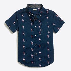 Boys' printed short-sleeve washed shirt : FactoryBoys short sleeve   Factory