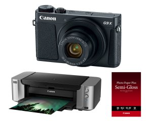 $319Canon PowerShot G9 X Mark II 20.1MP Digital Camera (Black) With Pixma Pro-100 Printer And Paper