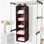 MaidMAX Closet Hanging Shelf, MaidMAX 5-Shelf Collapsible Hanging Accessory Organizer with 2 Widen Velcros for Clothes and Shoes Storage for Gift, Brown