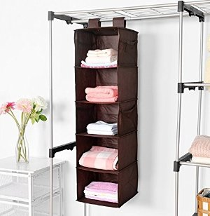 $6MaidMAX Closet Hanging Shelf, MaidMAX 5-Shelf Collapsible Hanging Accessory Organizer with 2 Widen Velcros for Clothes and Shoes Storage for Gift, Brown