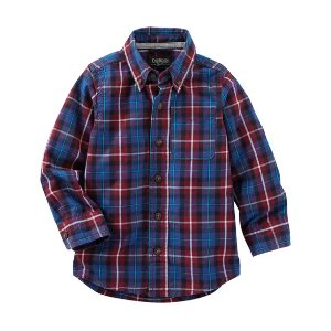 Kid Boy Plaid Button-Front Shirt | OshKosh.com