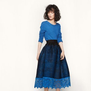 JOURNEE Honeycomb knit and guipure skirt - Skirts & Shorts - Maje.com