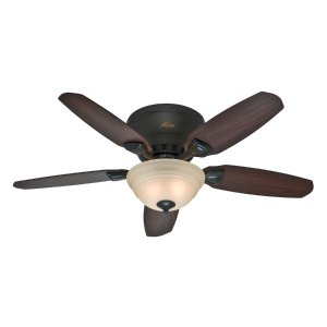 Hunter Louden 46-in Premier Bronze Flush Mount Indoor Ceiling Fan with Light Kit