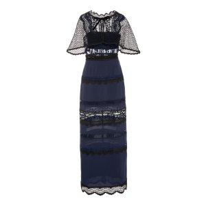 Bellis Cape-Back Lace Maxi Dress