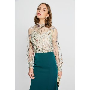 High Neck Embroidery Flower Mesh Top TP1891