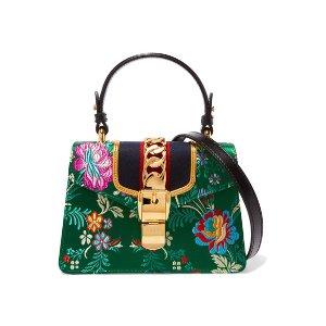 Gucci | Sylvie jacquard-paneled leather shoulder bag