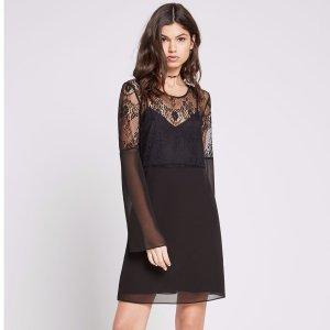 Lace Bodice Long-Sleeve Dress