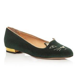 Charlotte Olympia 墨绿色小猫鞋