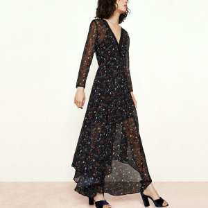 RIANE Long printed chiffon dress - Dresses - Maje.com