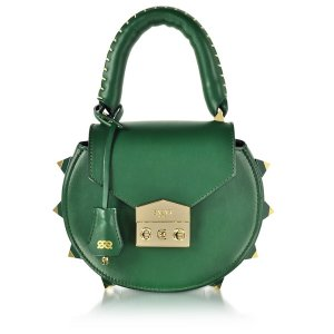 Salar Mimi Green Leather Shoulder Bag