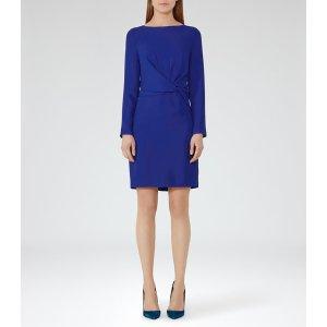 Elle Sapphire Knot-Front Dress - REISS