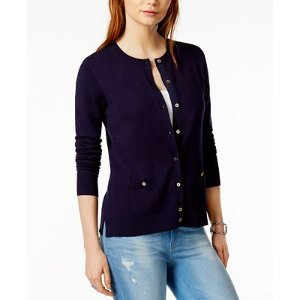 Tommy Hilfiger Crew-Neck Cardigan, Only at Macy's - Sweaters - Women - Macy's