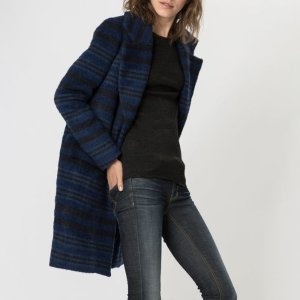 KAROLINA Long striped pea coat - Coats & Jackets - Maje.com