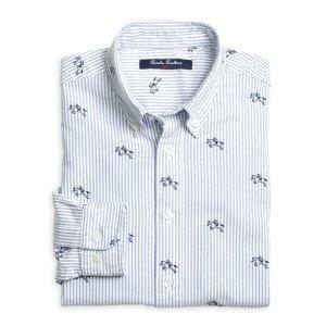 Boys' Horse and Jockey Printed Blue Striped Oxford Sport Shirt   Brooks Brothers