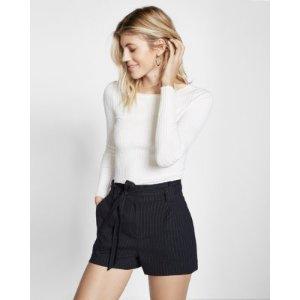 High Waisted Stripe Linen-blend Belted Short | Express